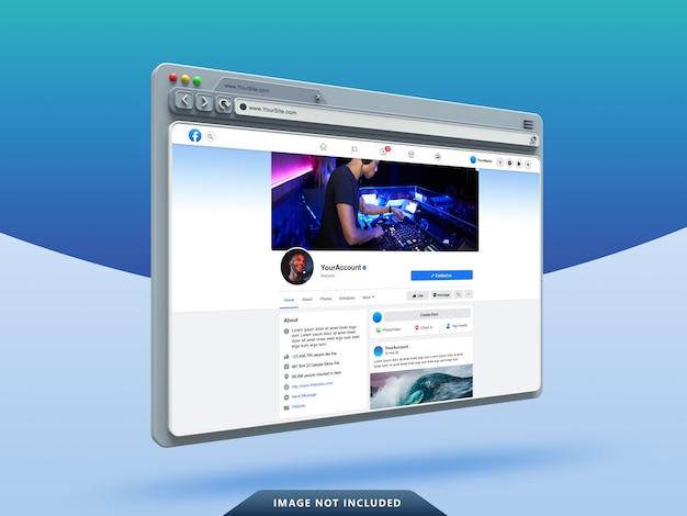 Modelo de interface do usuário do facebook em maquete de navegador da web 3d