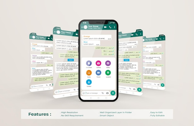 Modelo de interface do whatsapp no celular e maquete de apresentação do aplicativo ui ux