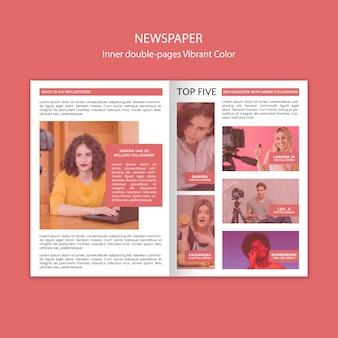 Modelo de jornal interno de páginas duplas com cores vibrantes