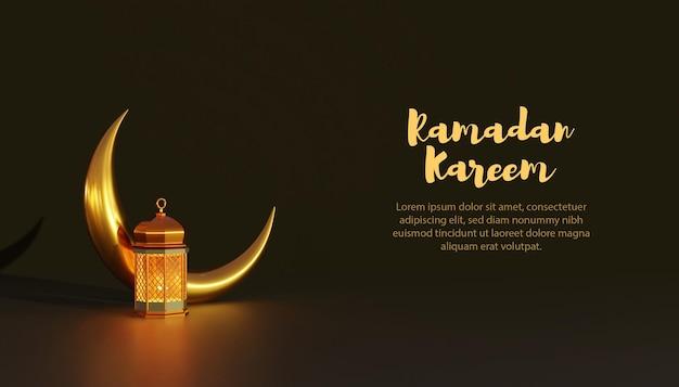 Modelo de lâmpada 3d e lua ramadan kareem
