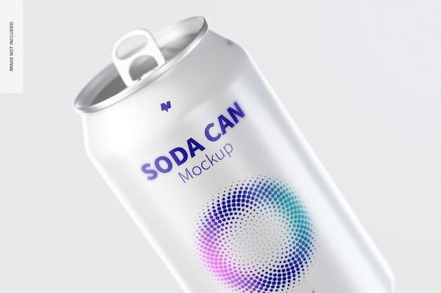 Modelo de lata de refrigerante 355 ml, close-up