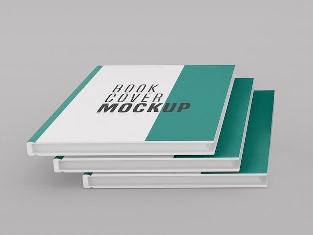 Modelo de livro de capa dura com três