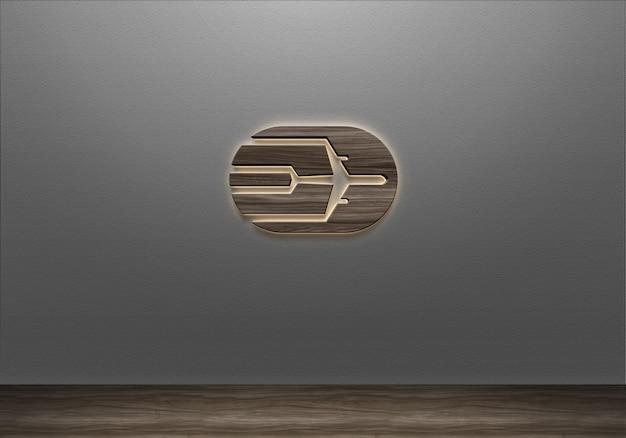 Modelo de logotipo de parede 3d realista com sinal de luz de madeira