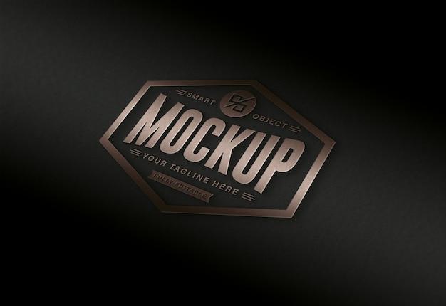 Modelo de logotipo editável luxuoso moderno em preto e marrom dourado
