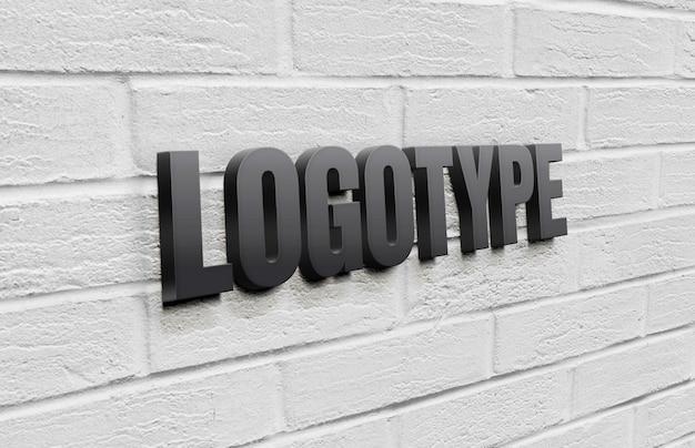 Modelo de logotipo na parede de tijolo