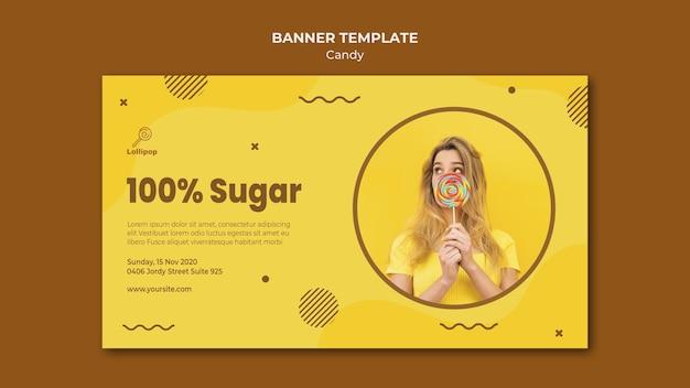 Modelo de loja de doces de banner
