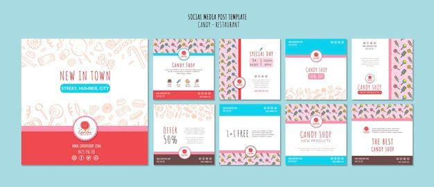 Modelo de loja de doces para post de mídia social