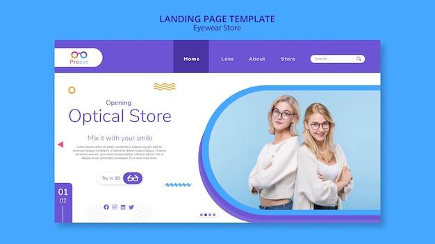 Modelo de loja de óculos para página de destino