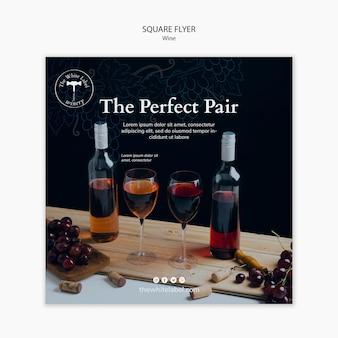 Modelo de loja de vinho de panfleto quadrado