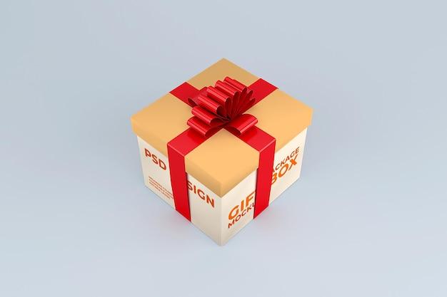 Modelo de maquete de caixa de presente de papelão realista