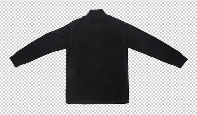 Modelo de maquete de camiseta de manga comprida preta em branco.