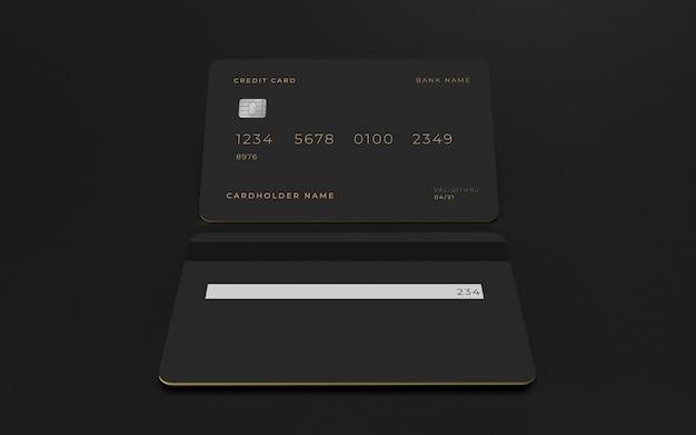 Modelo de maquete de conceito de design 3d de cartão de crédito
