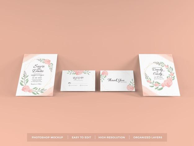 Modelo de maquete de convite de casamento realista