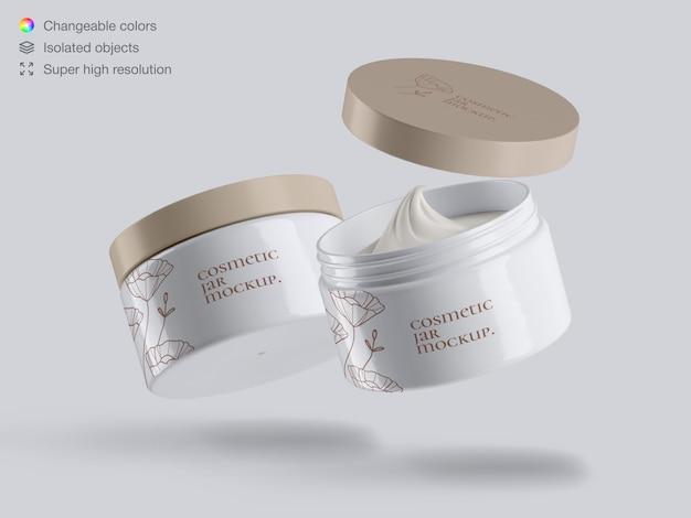 Modelo de maquete de dois frascos de creme cosmético plástico flutuante realista para rosto
