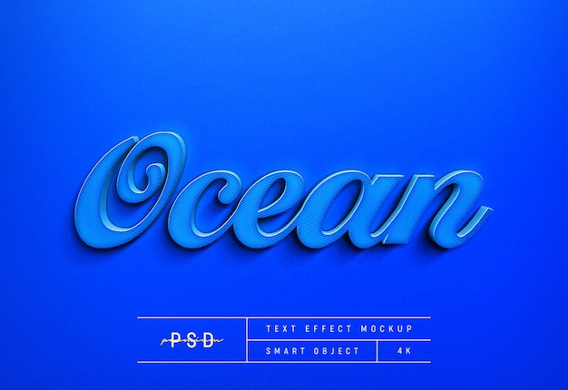 Modelo de maquete de efeito de estilo de texto azul oceano personalizável