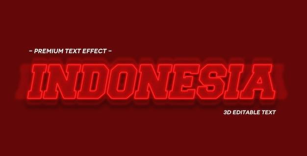 Modelo de maquete de efeito de texto 3d da indonésia