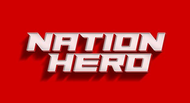 Modelo de maquete de efeito de texto 3d do nation hero