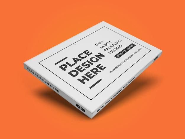 Modelo de maquete de embalagem para caixa a4 fina psd