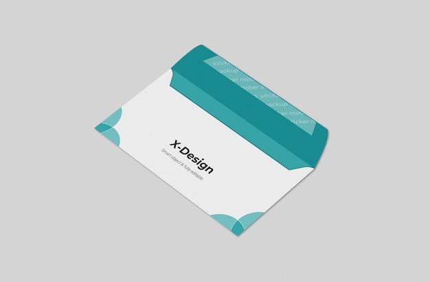 Modelo de maquete de envelope de negócios abertos