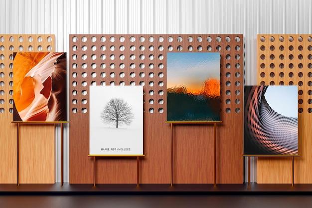 Modelo de maquete de exposição de fotos de galeria de arte