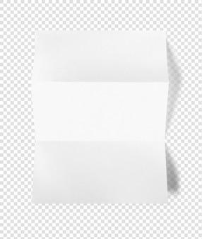 Modelo de maquete de folha de papel a4 branco dobrado em branco