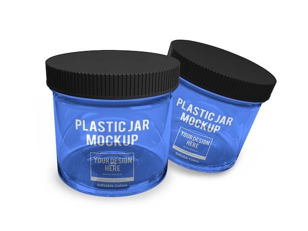 Modelo de maquete de frasco de plástico realista isolado