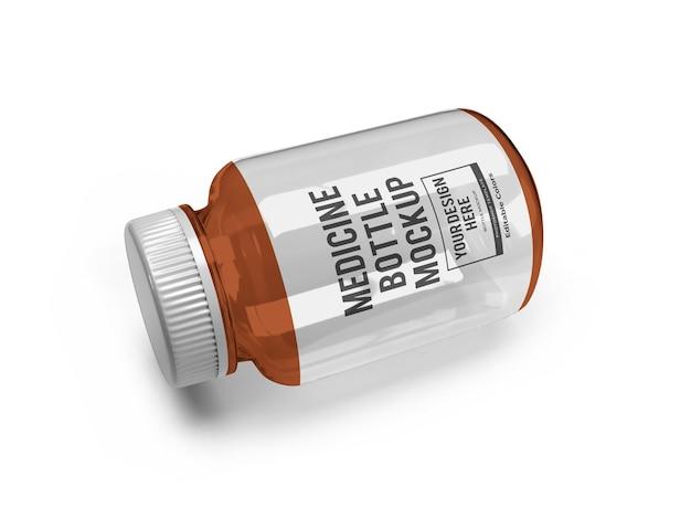 Modelo de maquete de frasco de vidro de remédio realista isolado