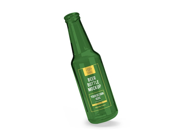 Modelo de maquete de garrafa de cerveja realista isolado