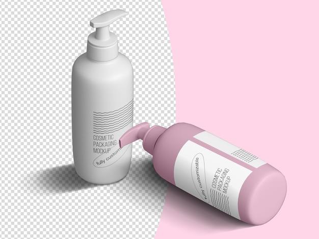 Modelo de maquete de garrafa de sabão cosmético isométrico