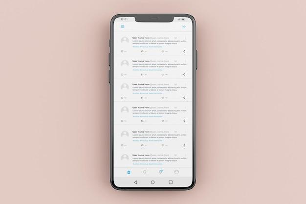 Modelo de maquete de interface móvel do twitter
