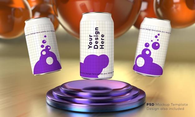 Modelo de maquete de latas de coca em pedestal circular