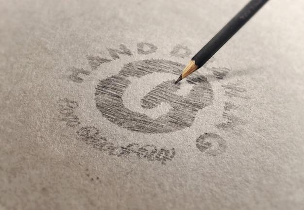 Modelo de maquete de logotipo ou texto - desenho à mão