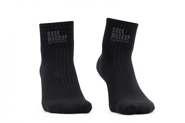 Modelo de maquete de meias pretas em branco para seu projeto