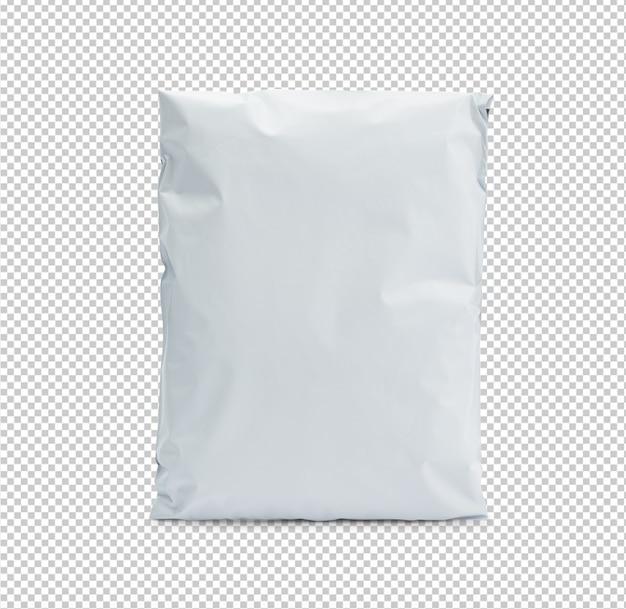 Modelo de maquete de pacote de saco plástico branco em branco para seu projeto.