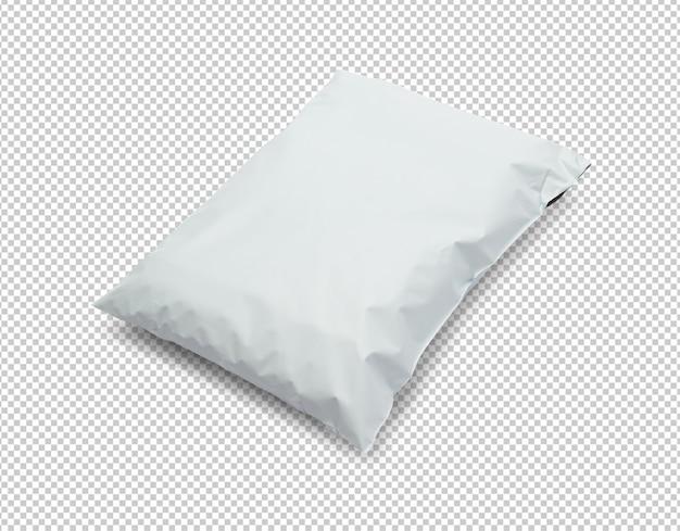 Modelo de maquete de pacote de saco plástico branco em branco