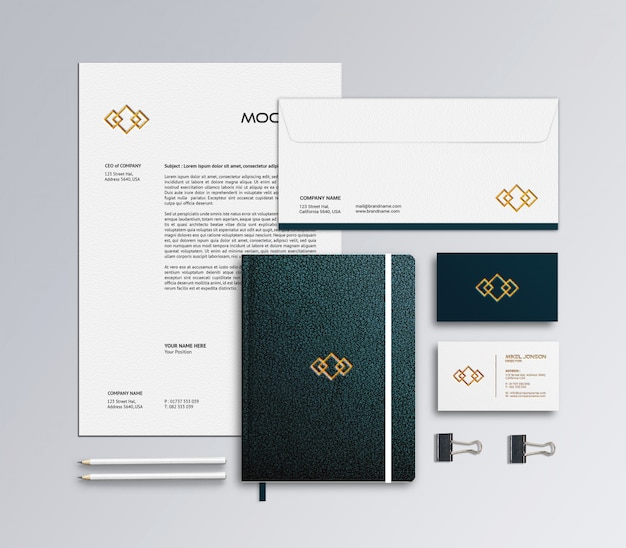 Modelo de maquete de papelaria de marca