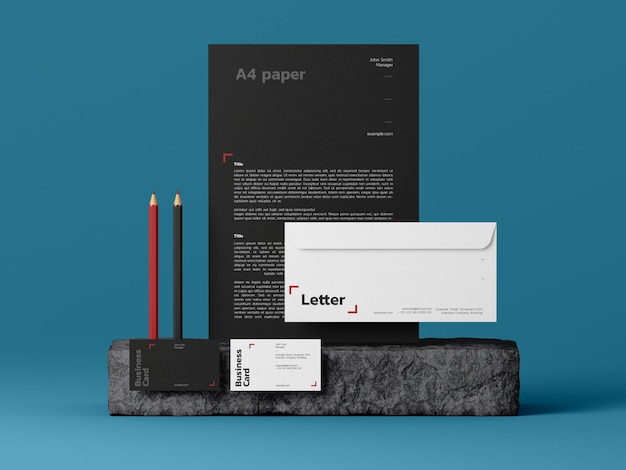 Modelo de maquete de papelaria moderna