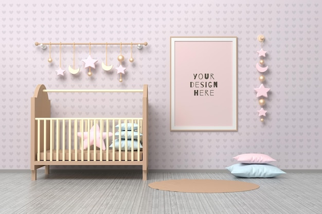 Modelo de maquete de quadro a4 de crianças recém-nascidas de berçário com berço, almofadas e decoração de suspensão.