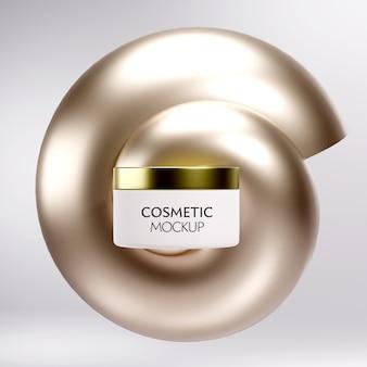 Modelo de maquete de recipiente de frasco cosmético de luxo em fundo mínimo dourado