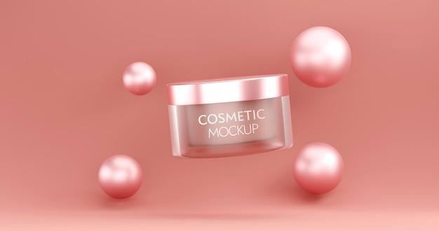 Modelo de maquete de recipiente de frasco cosmético em fundo rosa.