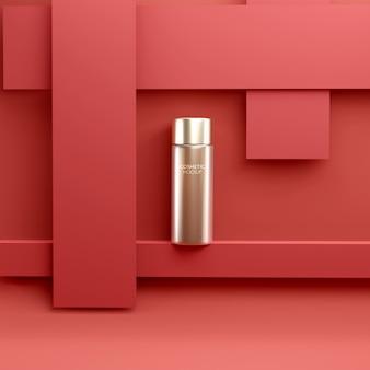 Modelo de maquete de recipiente de tratamento facial cosmético de luxo em fundo vermelho