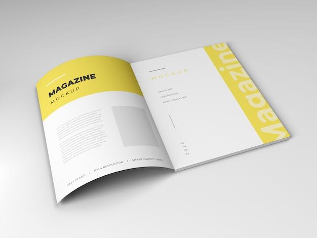 Modelo de maquete de revista aberta