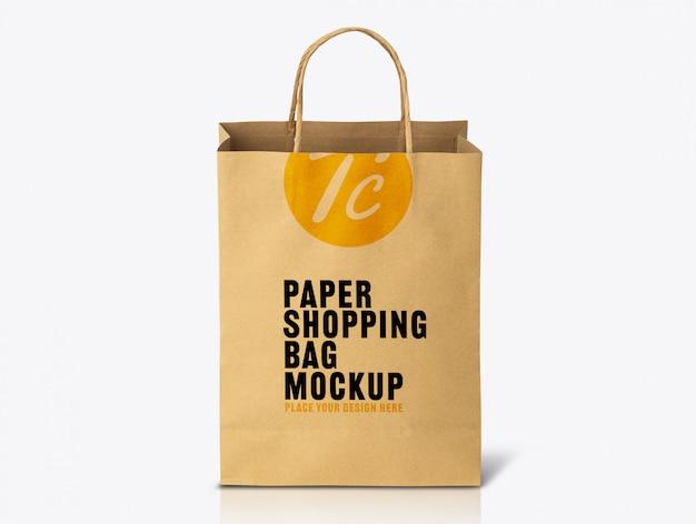 Modelo de maquete de saco de papel kraft marrom reciclado para seu projeto
