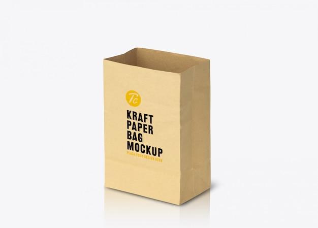 Modelo de maquete de saco de papel marrom reciclado para seu projeto
