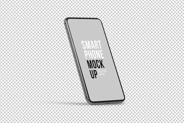 Modelo de maquete de smartphone móvel preto com tela em branco.