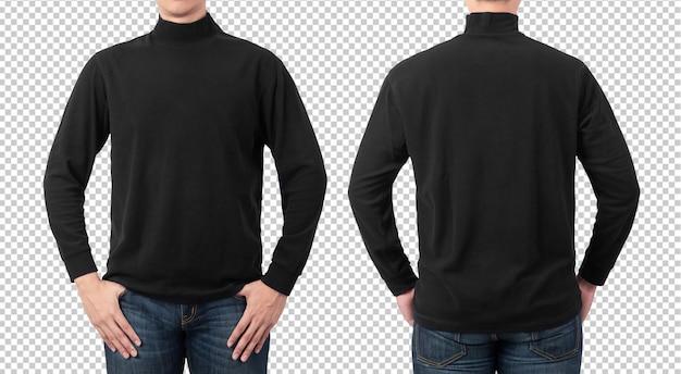 Modelo de maquete de t-shirt de manga comprida preto liso para seu projeto.