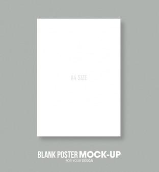 Modelo de maquete de tamanho de cartaz a4 em branco