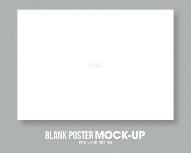 Modelo de maquete de tamanho de cartaz em branco a4.