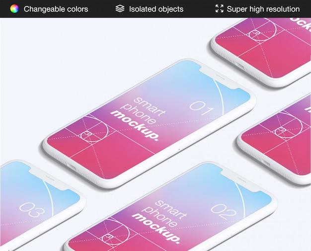 Modelo de maquete de telas de aplicativos de smartphone de alto ângulo mimimalista