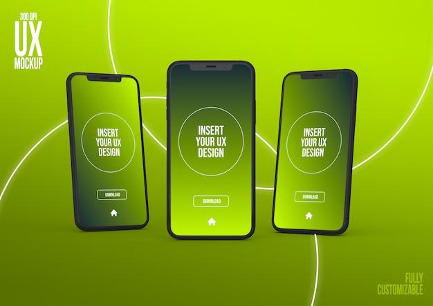 Modelo de maquete de três iphone